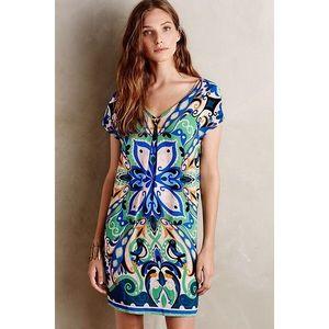 Anthropologie Maeve Folksong Bird Dress Shift Blue